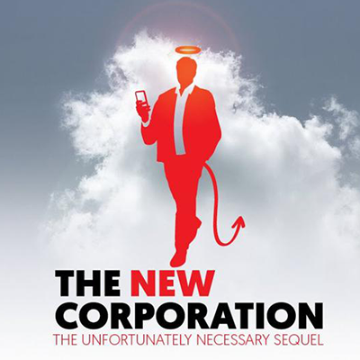 film poster for the new corporation: the unfortunately necessary sequel; shows a red outline of a man in a business suit with a halo and a devil's tail in front a cloud.