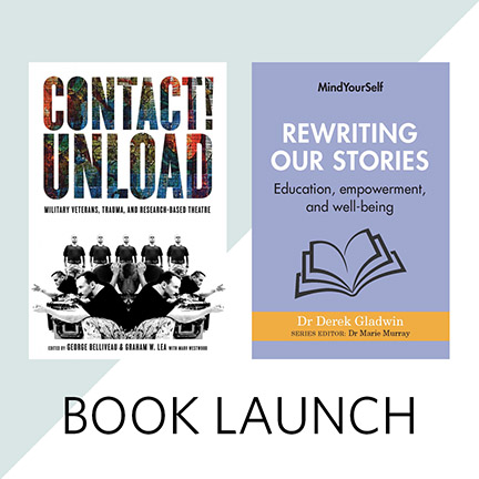 Two books from UBC authors: Rewriting Stories by Derek Gladwin, and Contact! Unload edited by George Belliveau and Graham W. Lea (U of Manitoba)