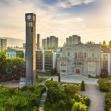 UBC clock tower, trees and surrounding buildings, by Hover Collective / UBC Brand & Marketing