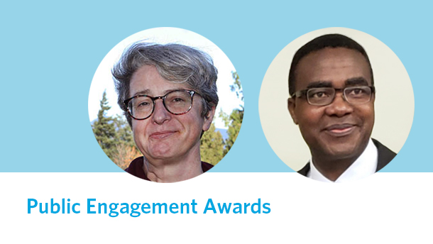 """Photos of Michelle Stack and Joash Gambarage on light blue background with title """"Public Engagement Awards"""""""